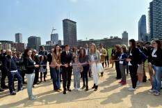 """Il taglio del nastro all'inaugurazione di """"Wheatfield"""" con la presenza di promotori e istituzioni – Sabato 11 aprile 2015"""