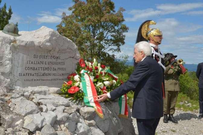 Centenario della Prima Guerra Mondiale: Il Presidente della Repubblica Italiana Sergio Mattarella rende omaggio ai caduti italiani ed ungheresi